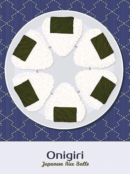 Onigiri illustration. Rice balls. Japanese cuisine. Asian snack….