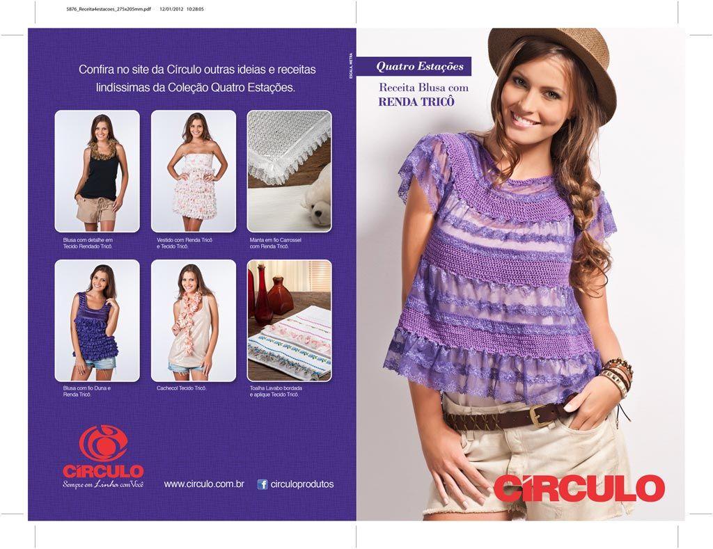Círculo Recetas - púrpura Blusa con encaje de punto