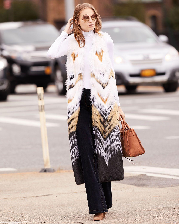 Fabulous Furs Full Length Chevron Faux Fur Vest Faux Fur Vests Outfits Fabulous Furs Fur Vest Outfits