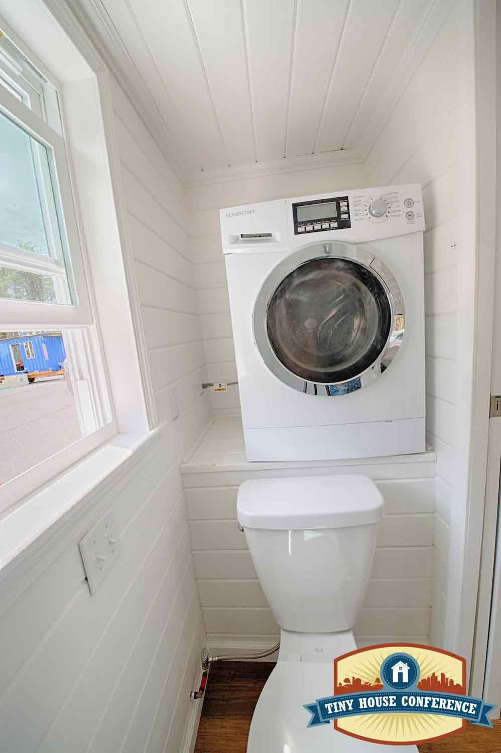 A ventless washer dryer combo in a tiny house bathroom at ... on Small Space Small Bathroom Ideas With Washing Machine id=72756