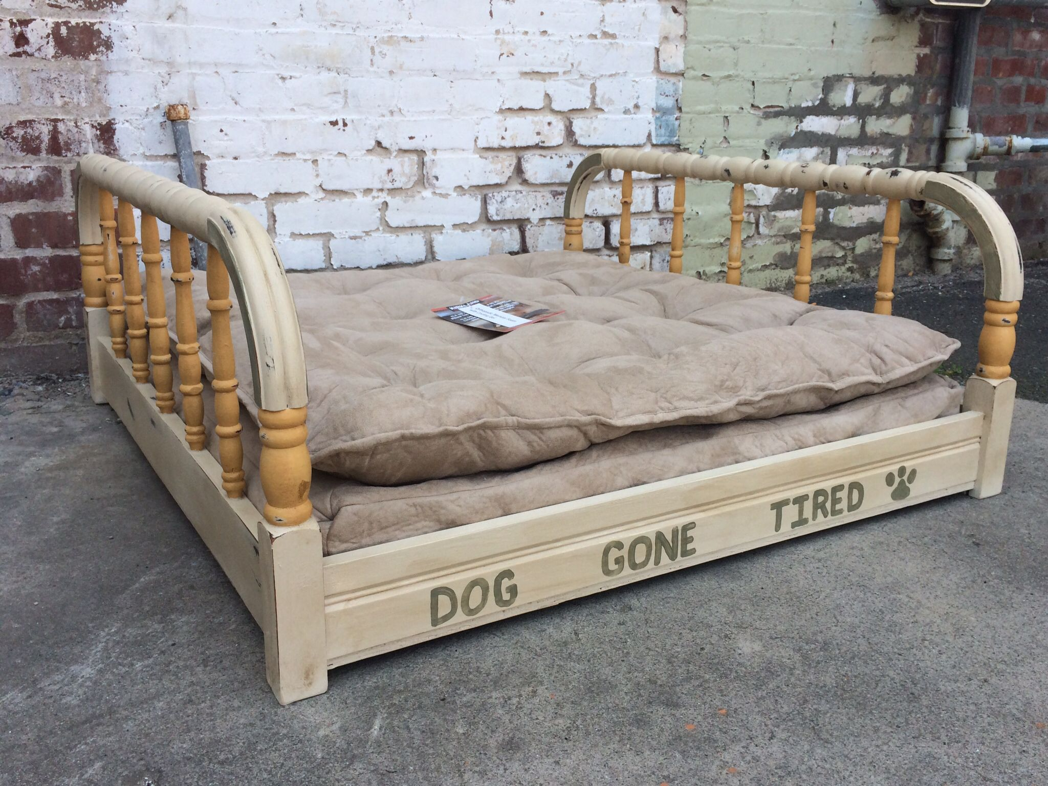 Dewaynes newest project a dog bed made from an old bed frame chalk paint arles old ochre and chateau grey doesnt your dog need a beautiful bed with