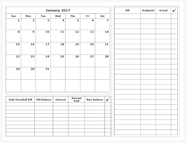 free budget calendar