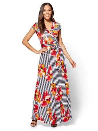 ddfb3737f22 Shop Wrap Maxi Dress - Floral   Stripe. Find your perfect size online at  the best price at New York   Company.