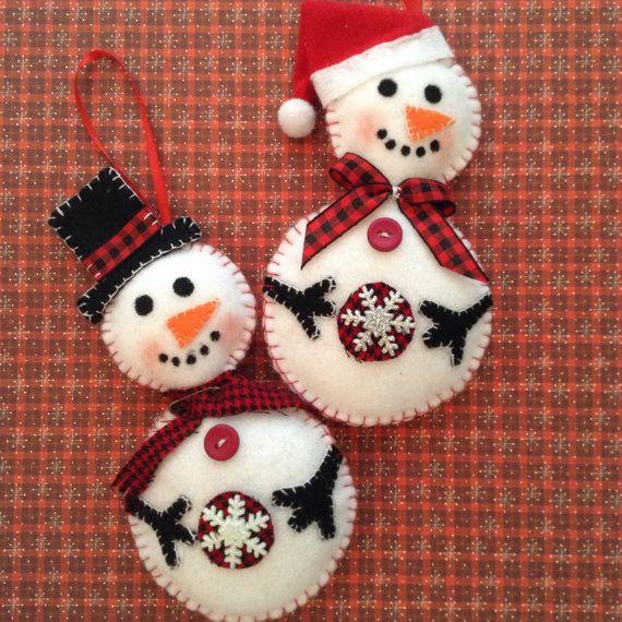 Snowman Ornaments Christmas Felt Snowman Ornaments Set Of 2