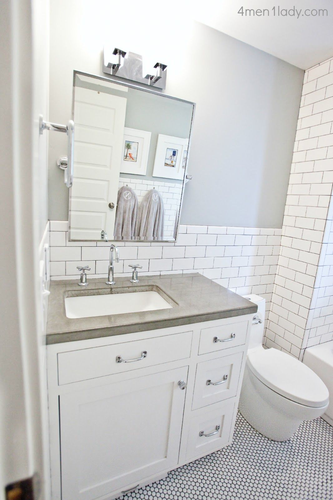 Love the combination of subway tile and penny tile- bathroom remodel ...