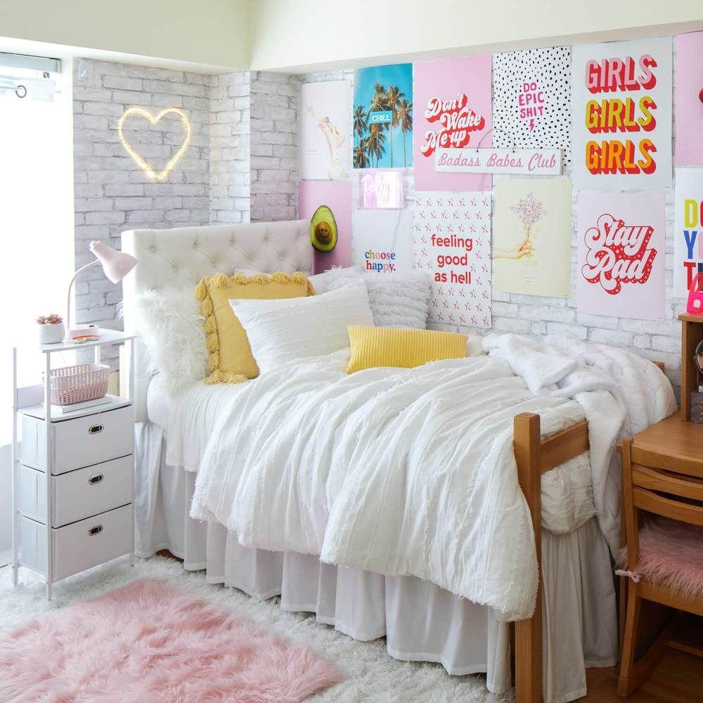 White Brick Removable Wallpaper College Dorm Room Decor Girls Dorm Room College Bedroom Decor