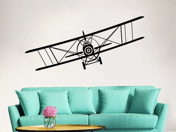 Airplane Wall Decal Vinyl Sticker Decals Biplane Decor Plane Air Airplane  Decal Boy Room Decor Bedroom Men Gift Nursery Dorm Decor ZX13