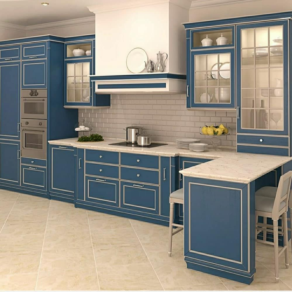 Straight Modular 🍽 Kitchen with continuing Peninsula for ...