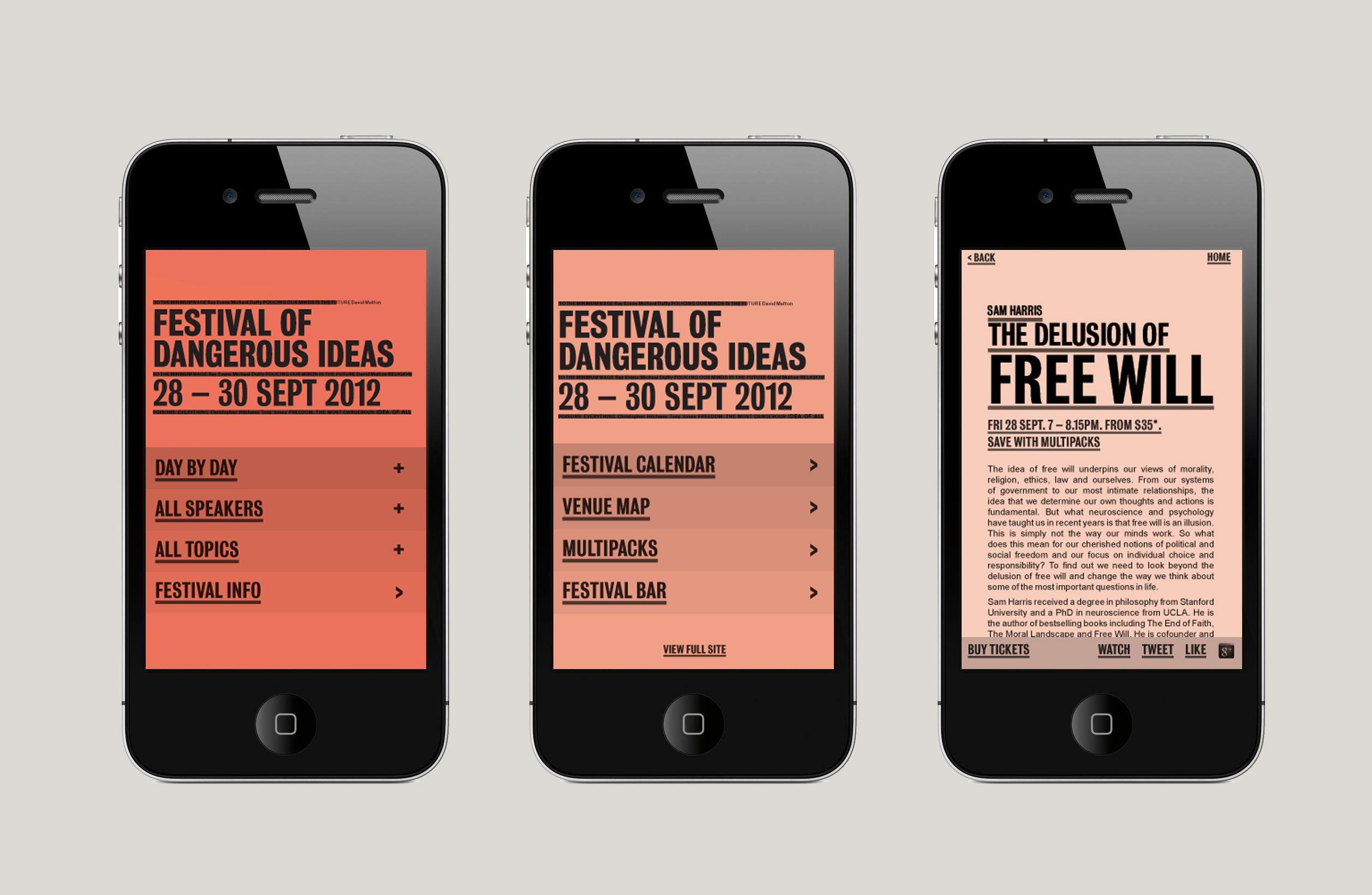 Festival Of Dangerous Ideas On Behance 모바일 웹