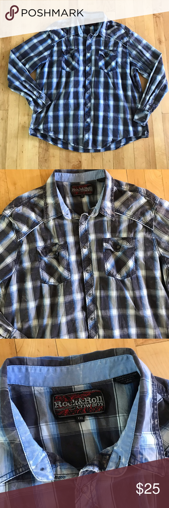 Rock and Roll Cowboy Button Down Rock and Roll Cowboy Button Down Size XXL Excellent condition 100% cotton   All measurements are approximate and taken laying on the floor  Armpit to armpit: 27 inches Length: 30 inches Rock and Roll Cowboy Shirts Casual Button Down Shirts #rockandrolloutfits