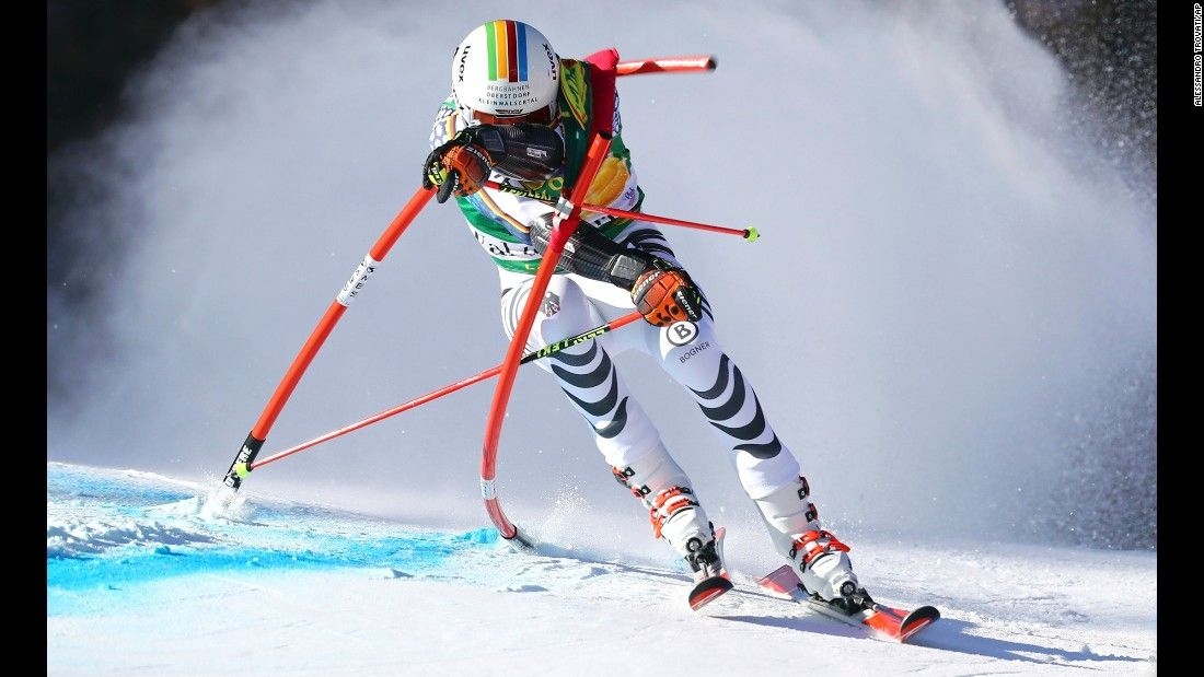 German skier Stefan Luitz crashes into a gate as he competes in the giant slalom at a World Cup event in Val d'Isere, France, on Sunday, December 4.