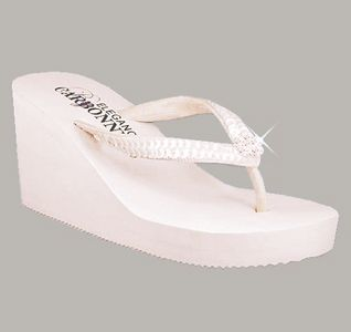 548cad237 Ivory High Wedge Bridal Flip Flops with Crystals