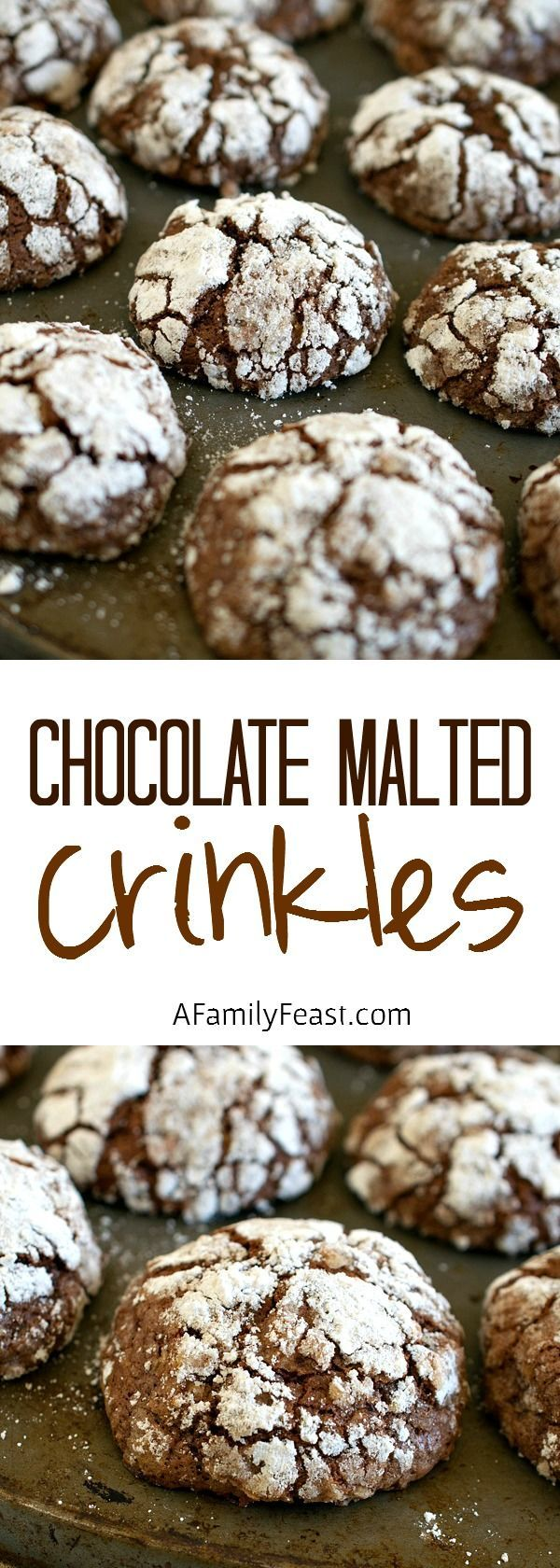 Chocolate Malted Crinkles - A Family Feast® #chocolatecrinklecookies