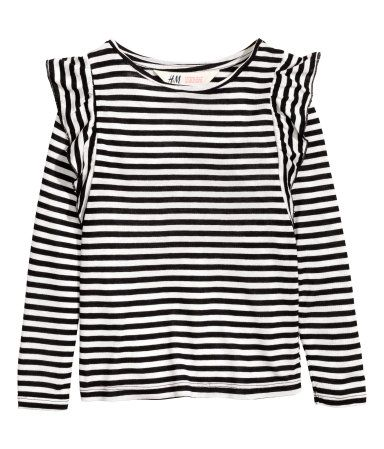 09c573b94d Black/white striped. Long-sleeved jersey top with ruffles at shoulders.