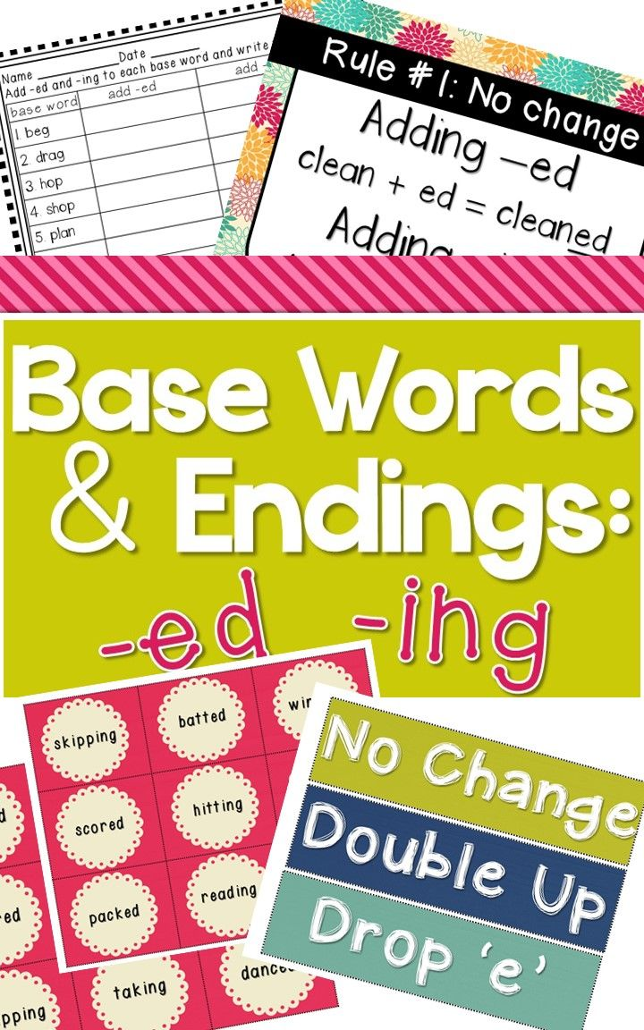 Resources For Teaching How To Add Ed Or Ing To A Verb Includes Rule Posters No Prep Worksheets And A Cent Base Words Inflectional Endings Spelling Lessons [ 1152 x 720 Pixel ]