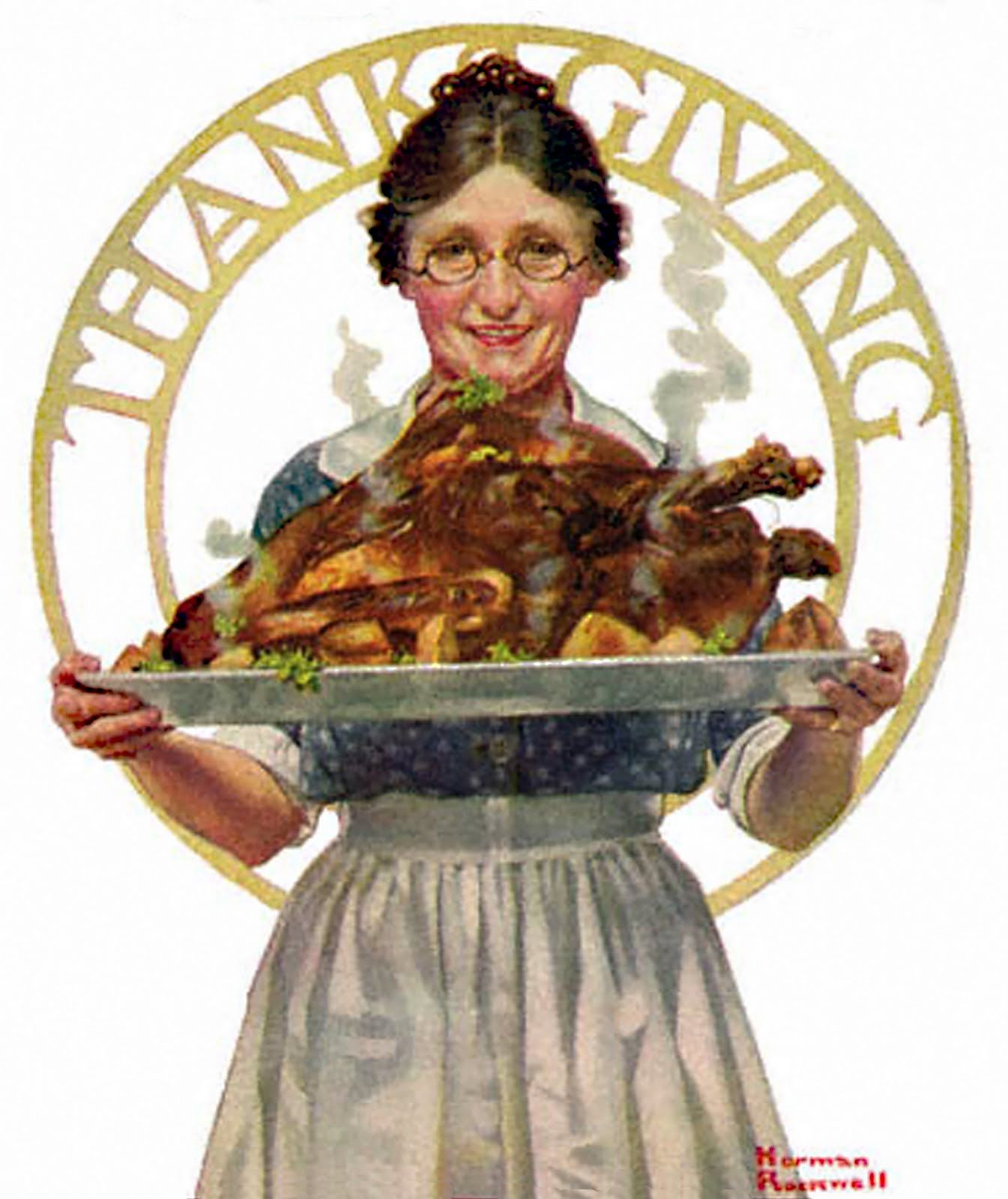 Book Chase Thanksgiving Norman Rockwell Style