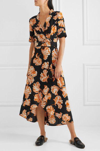 GANNI - Geroux floral-print silk crepe de chine wrap dress