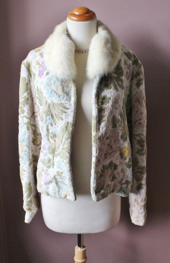Vintage 1950's pastel floral tapestry CARPET coat by RedHatVintage, $175.00