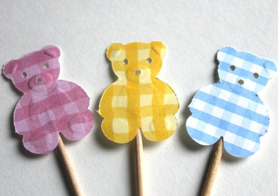 Teddy Bear Cupcake Toppers or Appetizer by welldressedcupcakes, $2.25