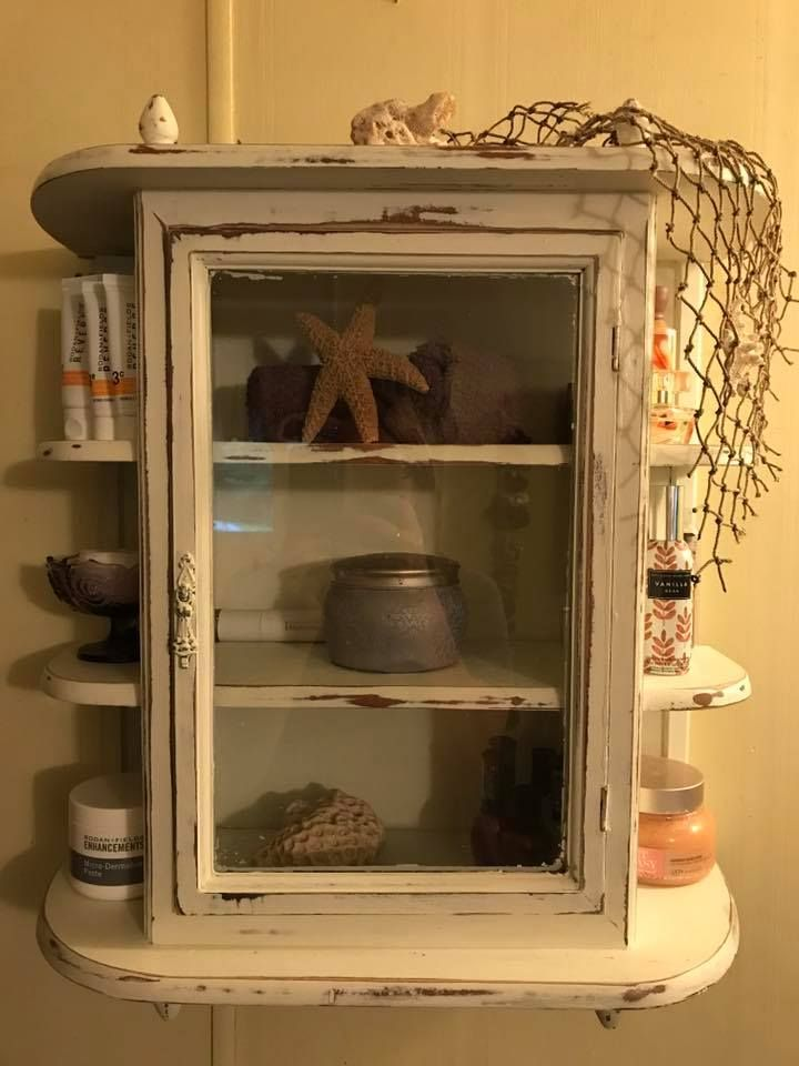 Shabby Chic Vintage French Country Farmhouse Wall Curio Cabinet Makeover.  Painted With White Matte Waverly Chalk Paint From Walmart, Distressed With  A Power ...