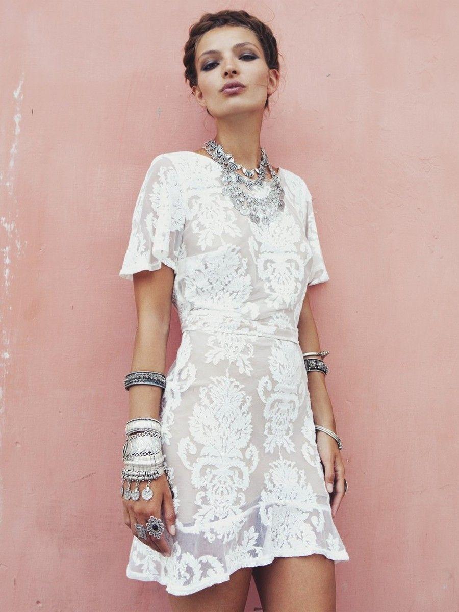 For Love & Lemons San Marcos Mini Dress in Ivory | Emi | Pinterest