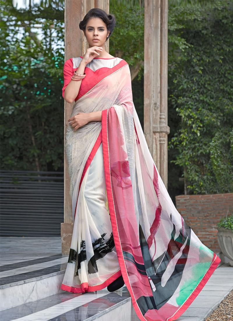 Off saree model images graceful bamber georgette print work casual saree  purity in white