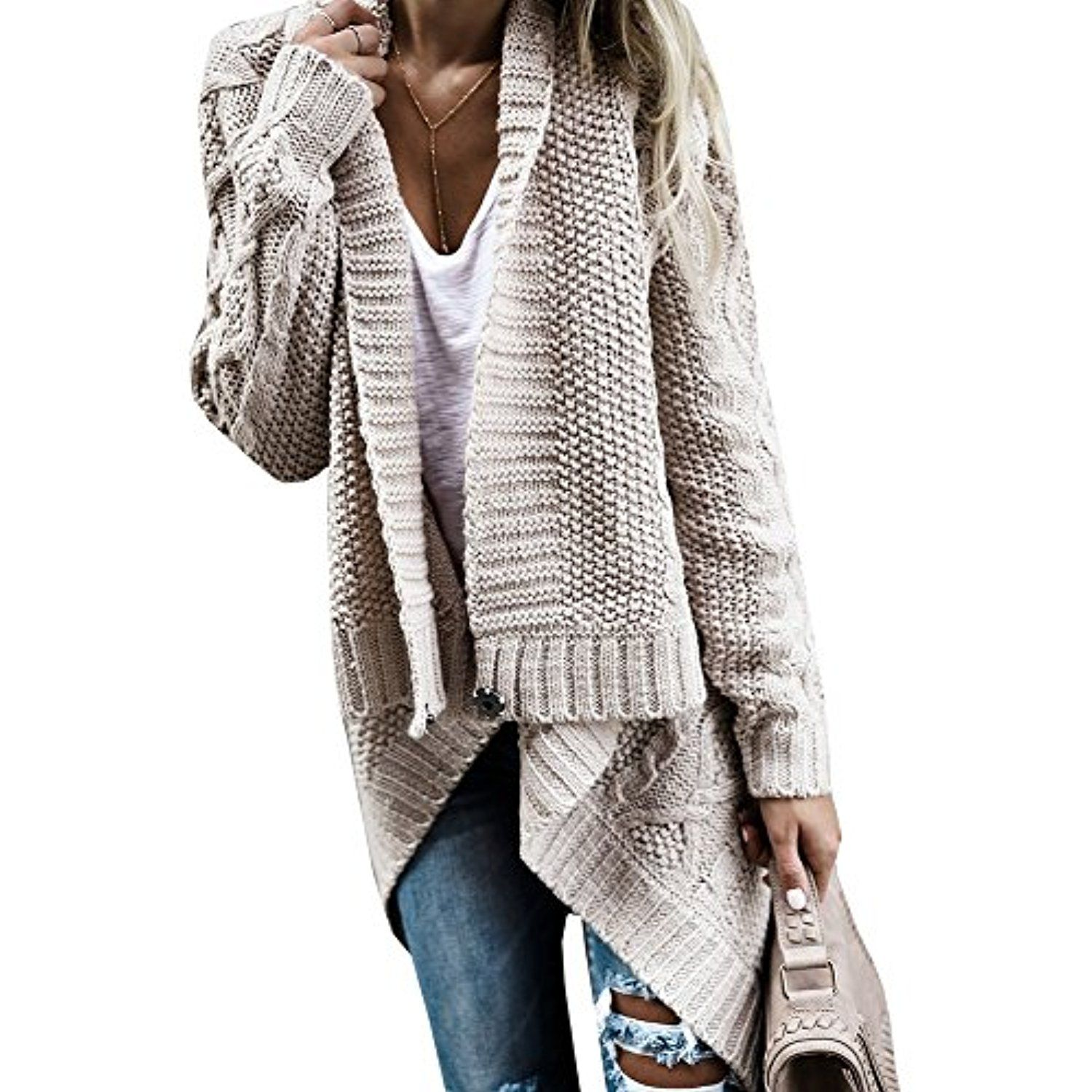 Womens Cable Knit Drap Open Front Button Down Cardigan Sweaters ...