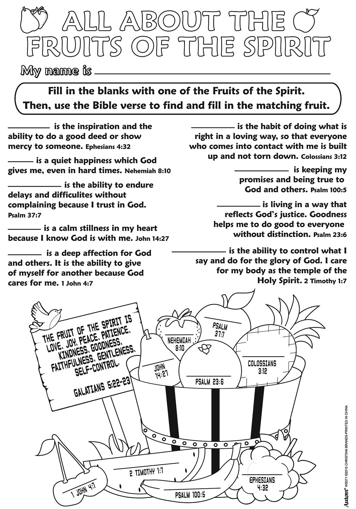 Fruits Of The Spirit Color Your Own Poster