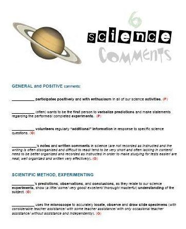Get A Hold Of Our Science Report Card Comments Collection With A