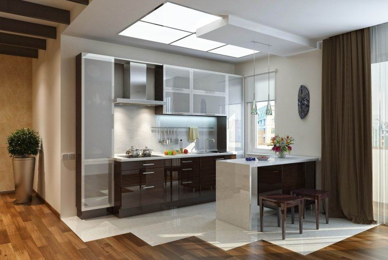 Awesome Beautiful And Creative Modern Aluminum Kitchen Design Ideas With  Modern Metal Frame Glass Kitchen Doors Ideas