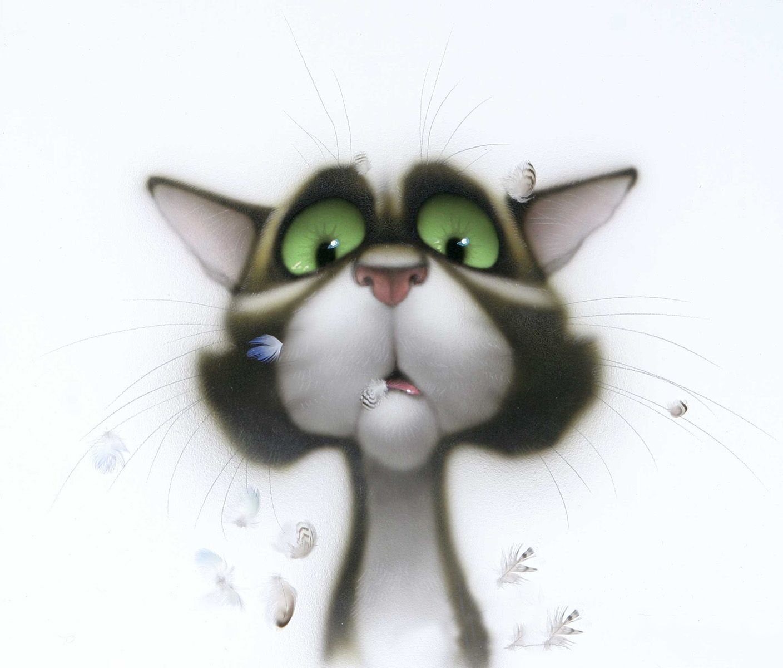Смешные картинки котов и кошек нарисованные, подруге ручная