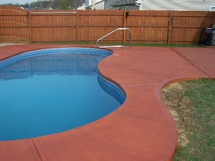 thinking of staining my pool concrete a terracotta colour. Black Bedroom Furniture Sets. Home Design Ideas