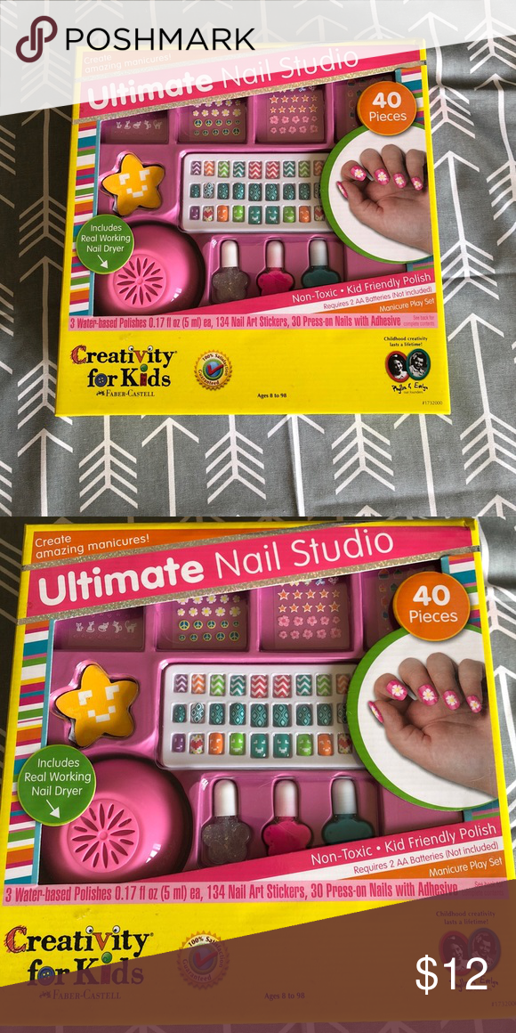 Creativity for kids nail art Brand new nail art kit with nail dryer ...