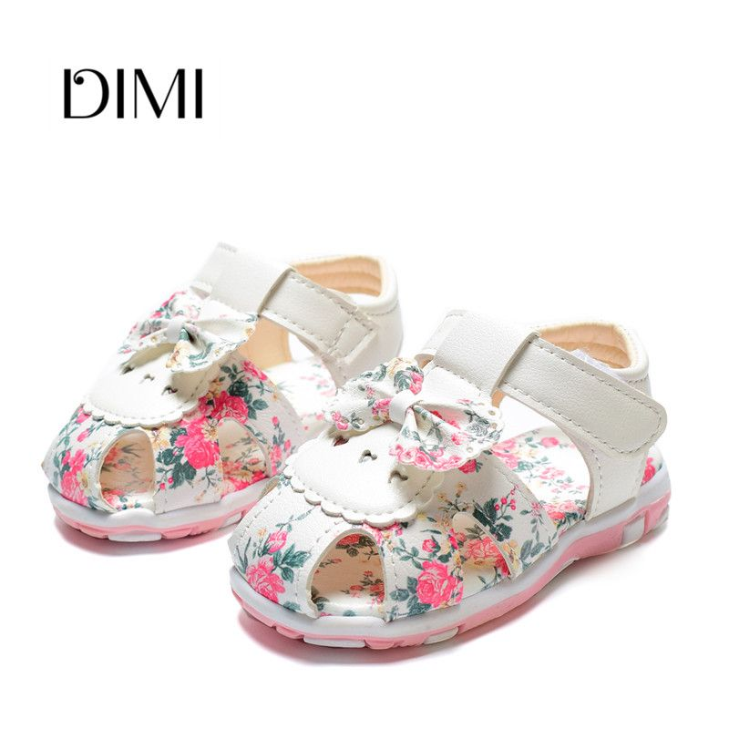 2018 New Summer Children Shoes Toddler Baby Girls Sandals Princess Flower  Bowtie Shoes Leather Kids Sandals For Girls 21-25 Review c5bb09a1379e