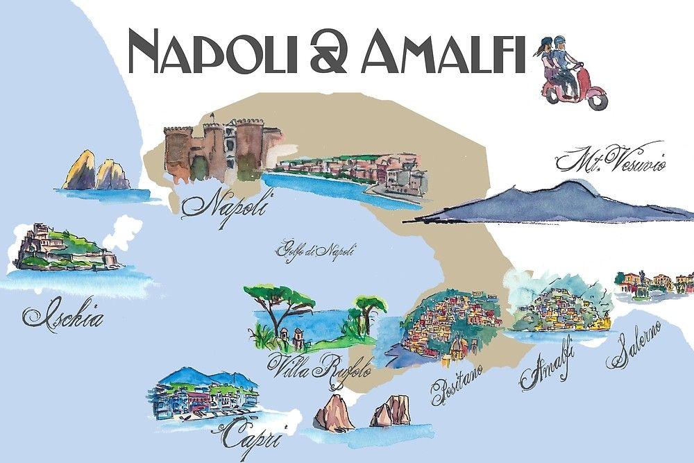 Napoli Und Amalfi Kuste In Italien Von Artshop77 Stickers