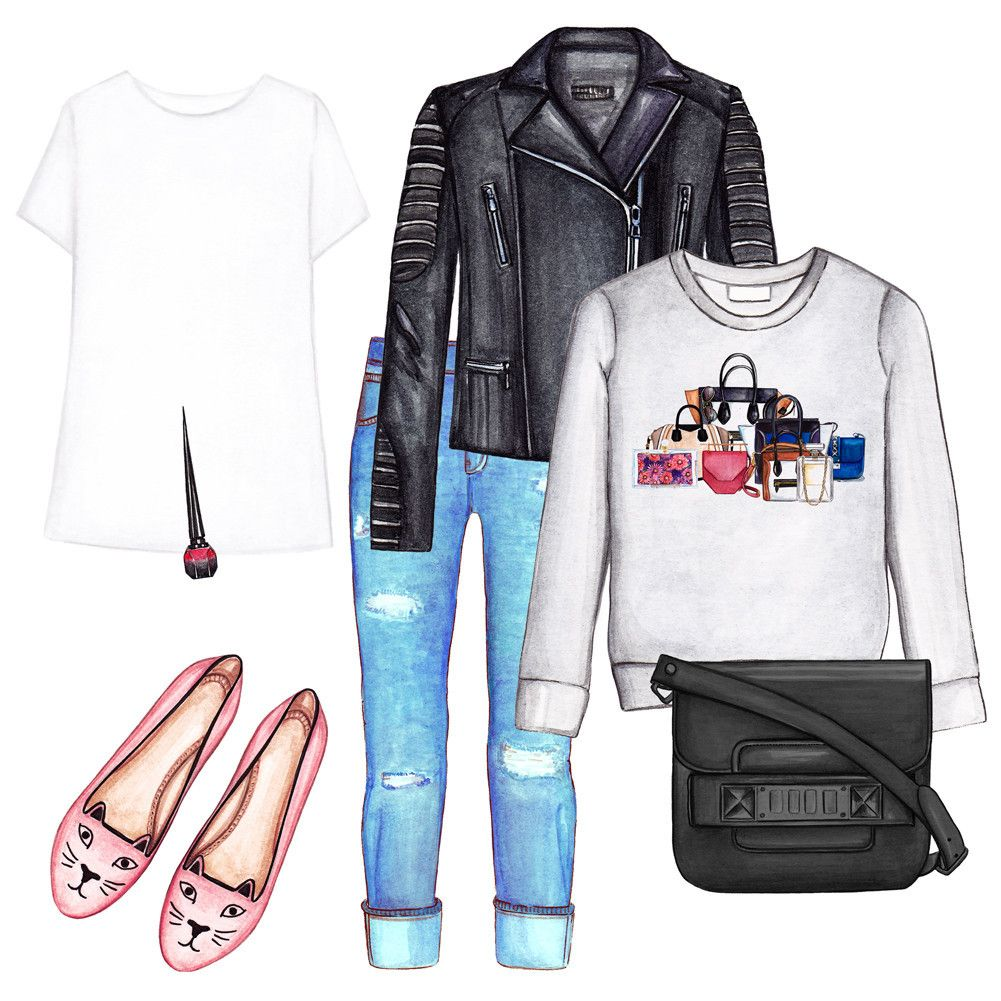 Fashion outfit collage. Basic tee, graphic sweatshirt, blue jeans, leather jacket, Charlotte Olympia flats, Proenza Shouler bag, Christian Louboutin nail polish
