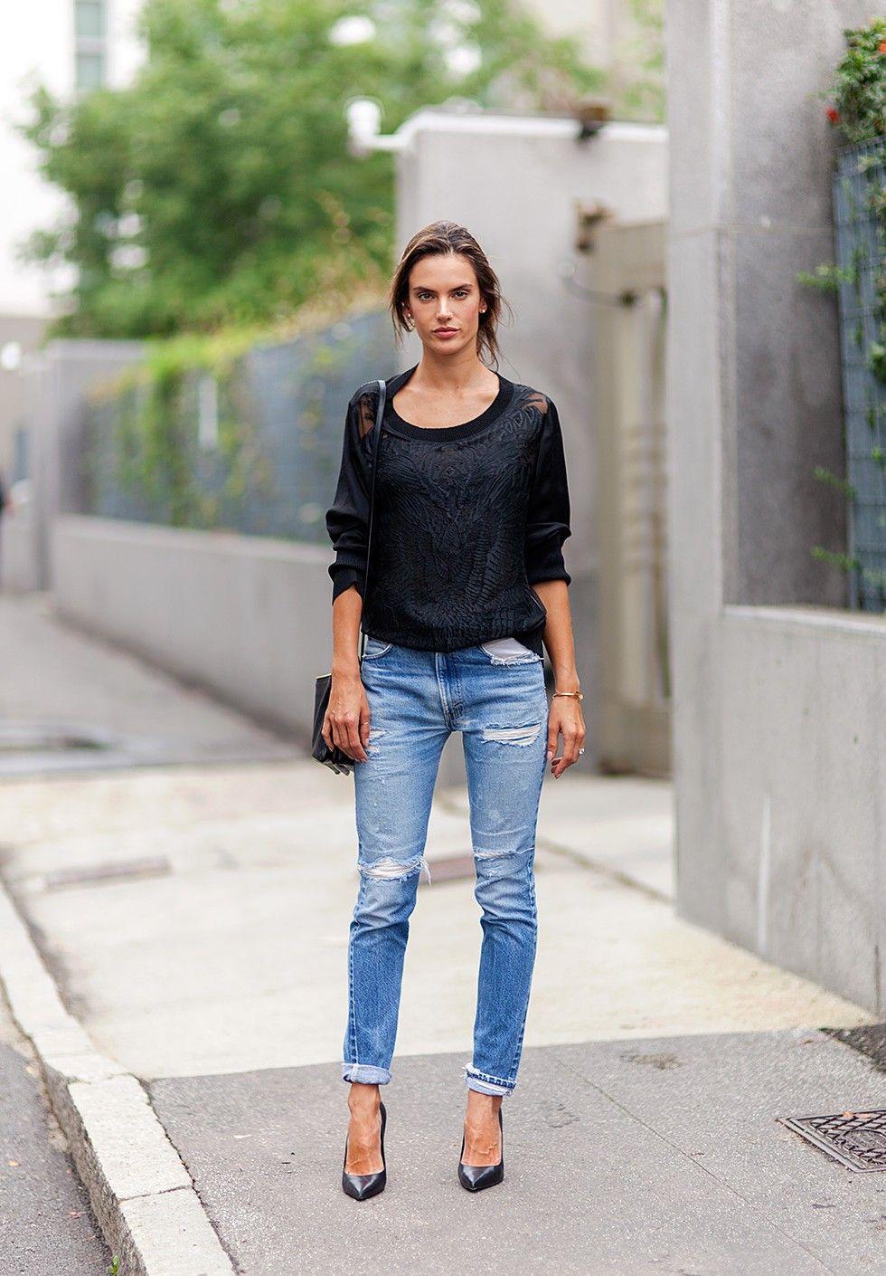 Alessandra Ambrosio | quilted sweatshirt