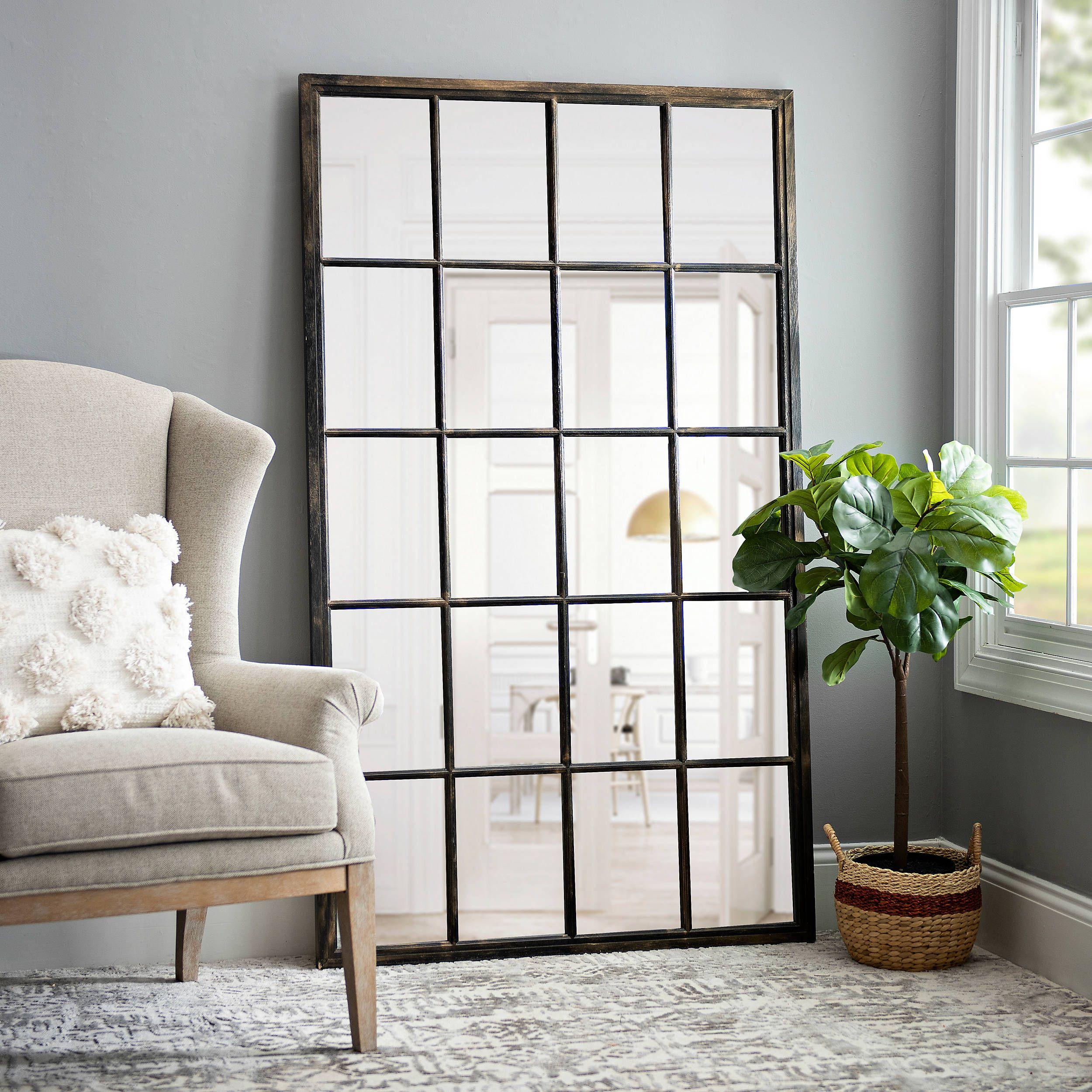 Wooden 20-Pane Leaner Mirror, 40x67 in. | Kirklands in ... on Floor Mirrors Decorative Kirklands id=71040