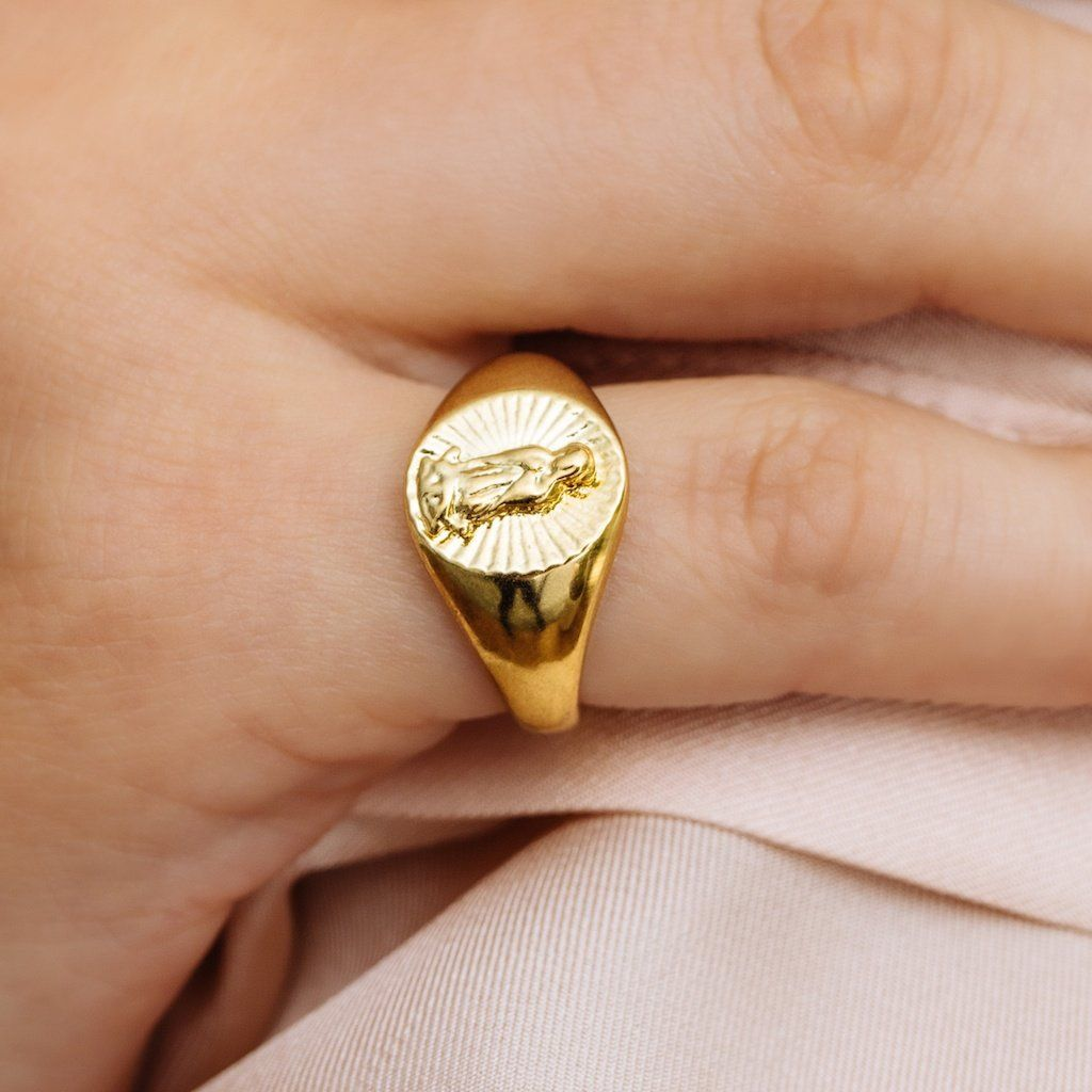 73db1972f0e70 Saint Mary Signet Ring- Gold in 2019 | BLING BLING | Gold pinky ring ...