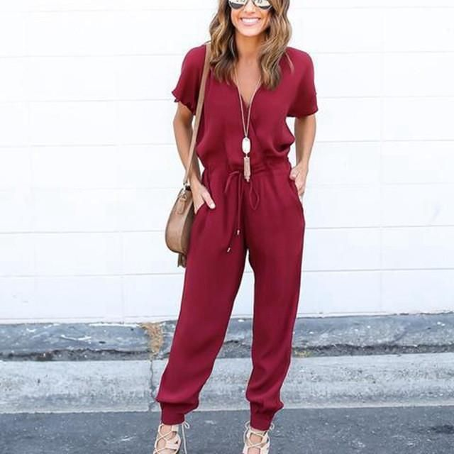 LASPERAL 2017 Sexy Women Clubwear Playsuits Party Jumpsuit&Romper Long Trousers Casual Chiffon Short Sleeve Vneck Summer Overall