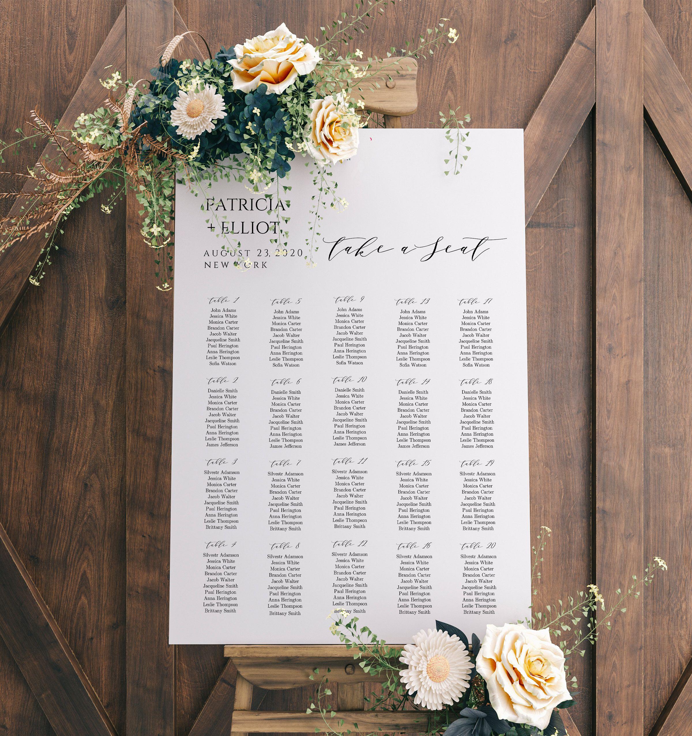 Wedding Seating Chart Sign DIY Wedding Guest List Seating