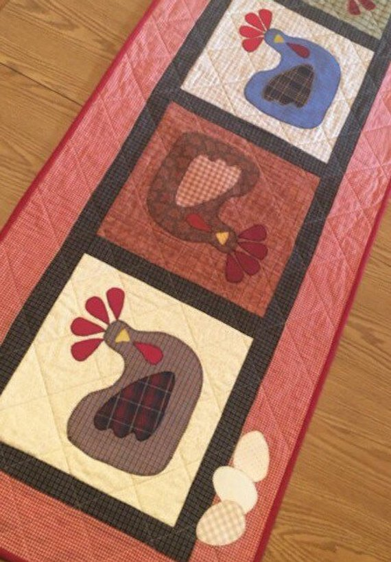 measures 22 x 61 Quiltsy Team FREE US SHIPPING Chickens Hens Quilted Appliqu\u00e9d Farm Country Table Runner with Eggs