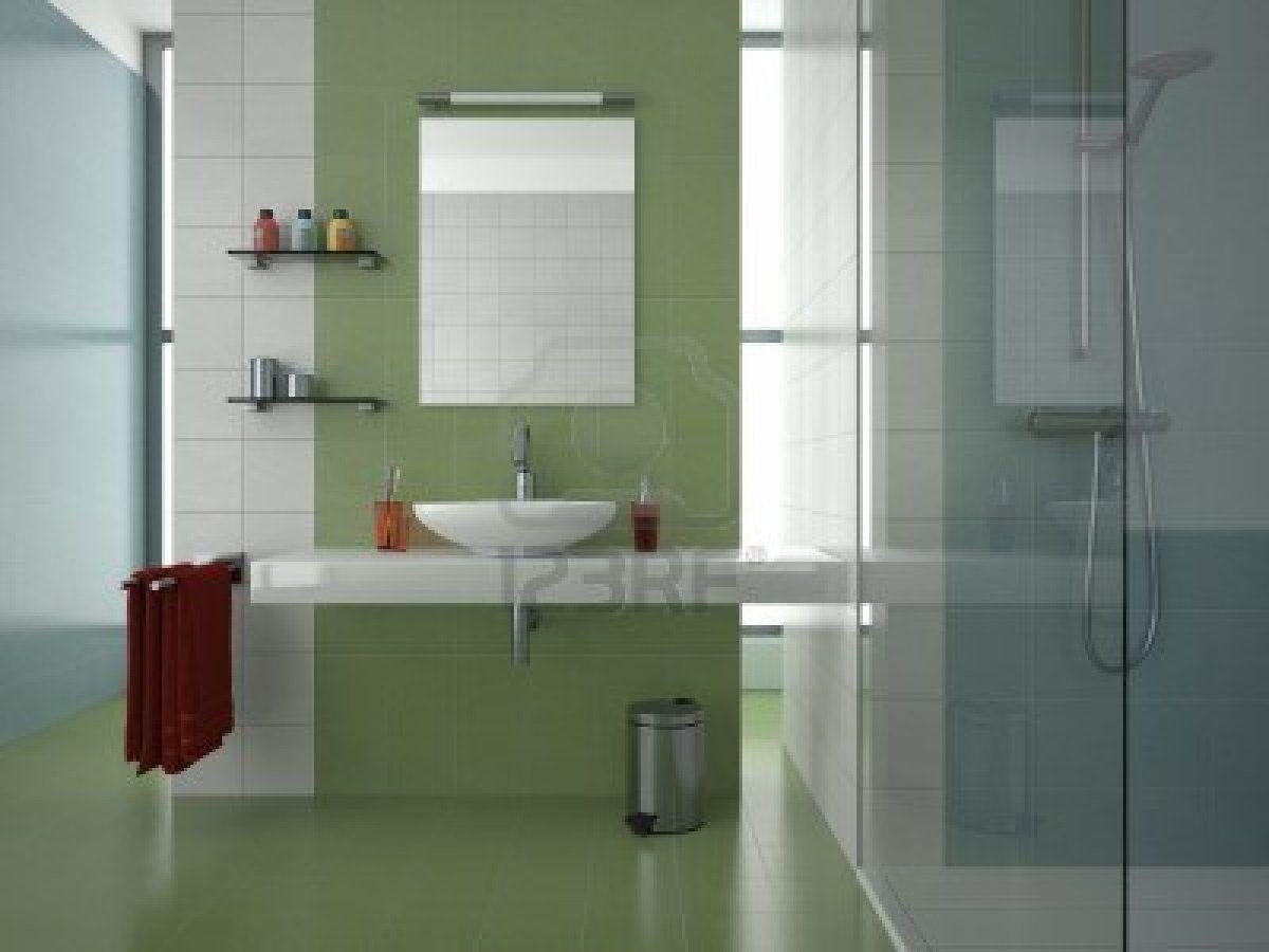 Bathrooms White Tiles Spacious Bathroom Design with Green White