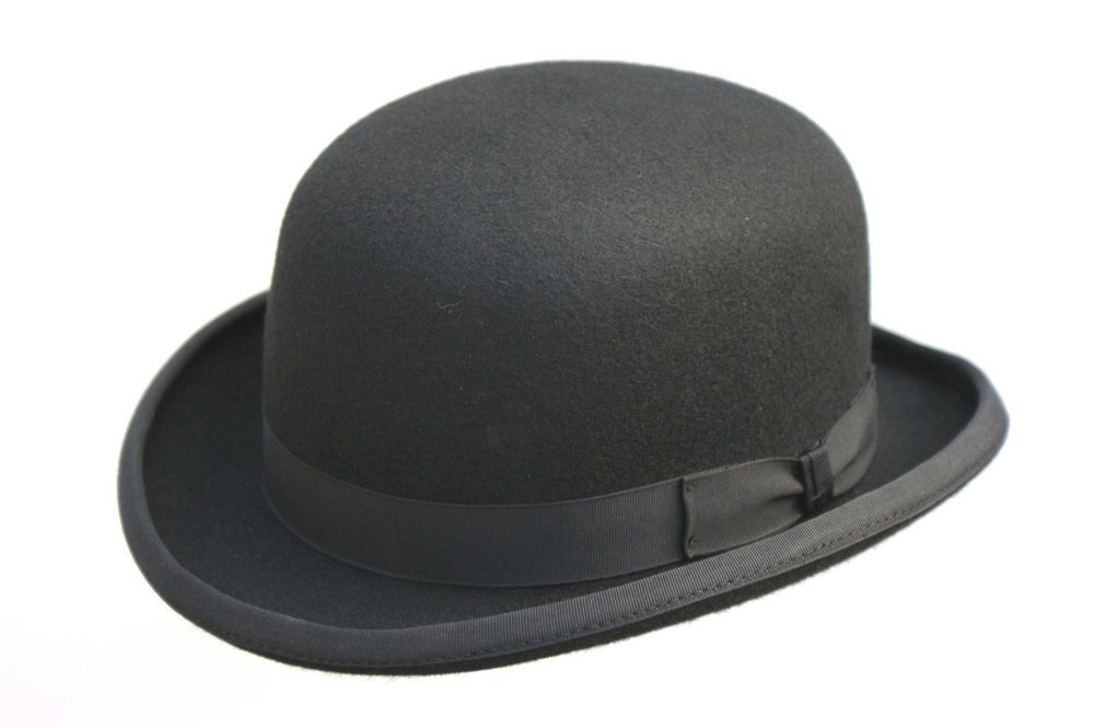 High Quality Hard Top 100 Wool Bowler Hat Satin Lined Sizes S To Xxl Ebay Bowler Hat Black Bowler Hat Mens Bowler Hat