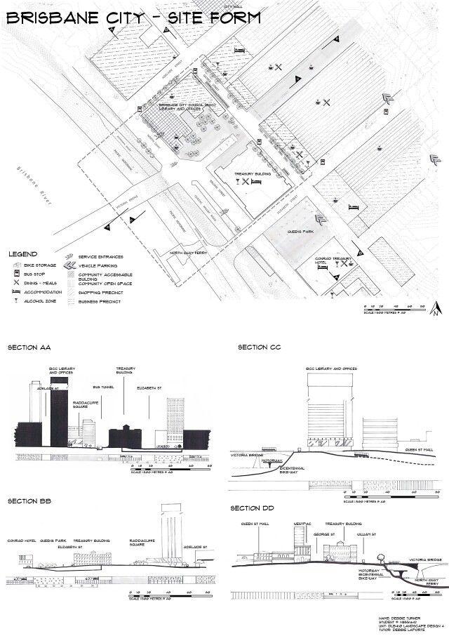 site analysis 4of4 brisbane cbd hand drawn by debbie turner