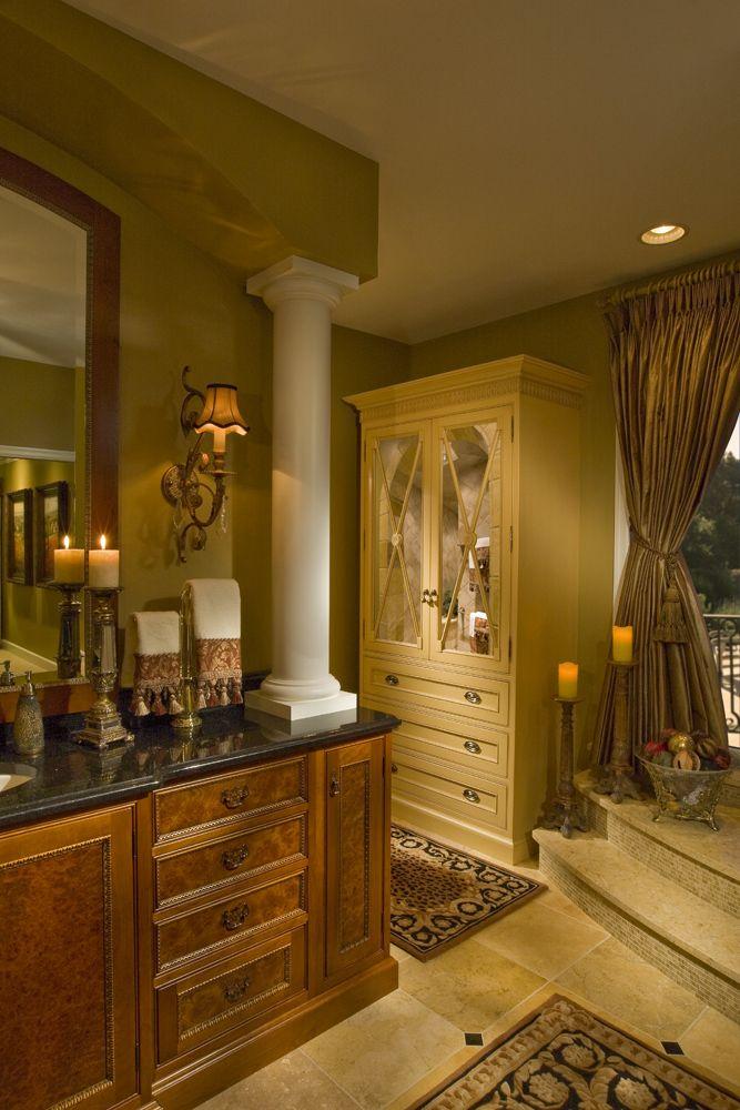 Master Bath. Custom burl cabinetry. Black granite ... on Bathroom Ideas With Black Granite Countertops  id=19407