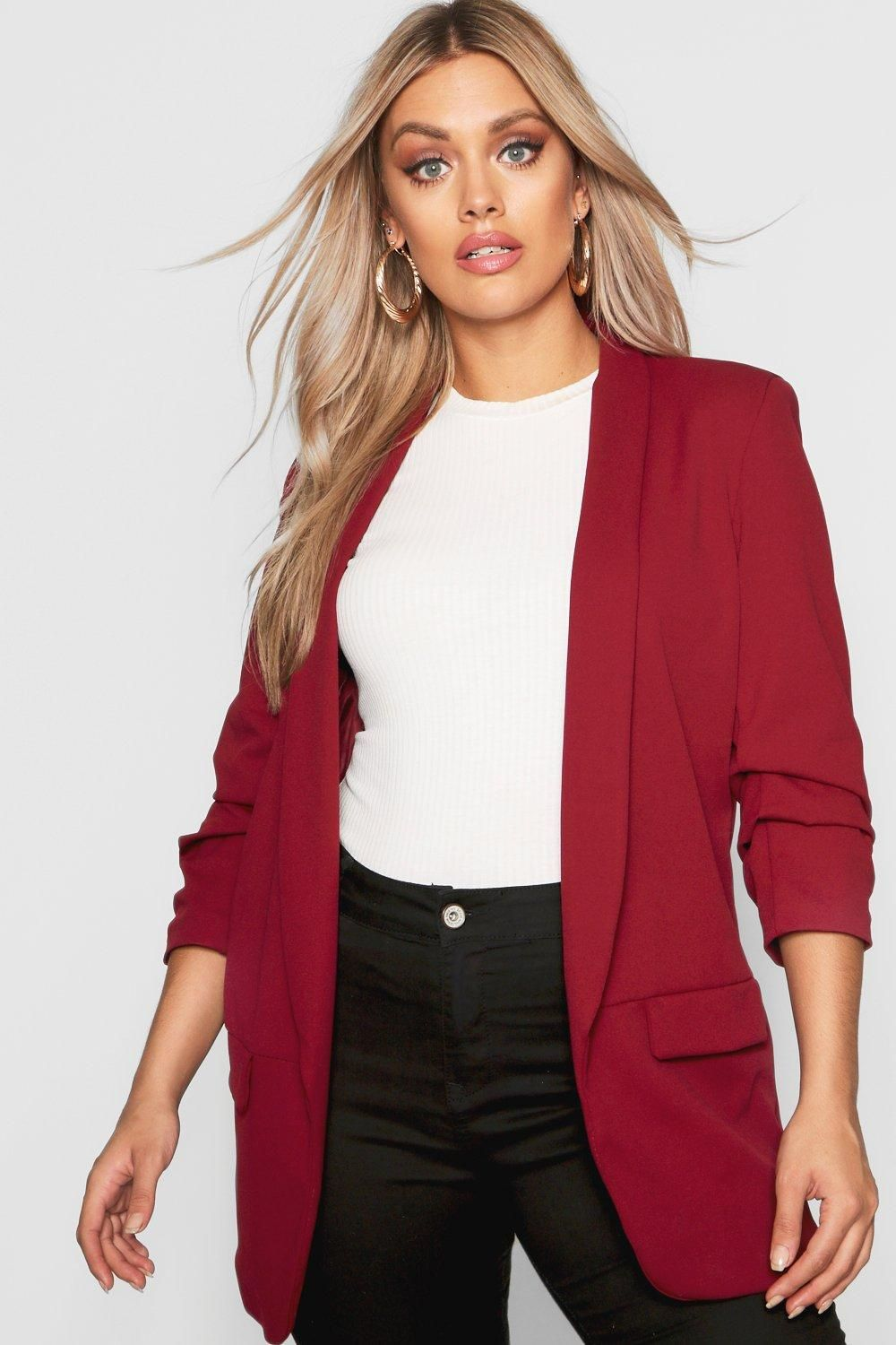 d6a8cabfd96 Click here to find out about the Plus Ruched Sleeve Blazer from Boohoo