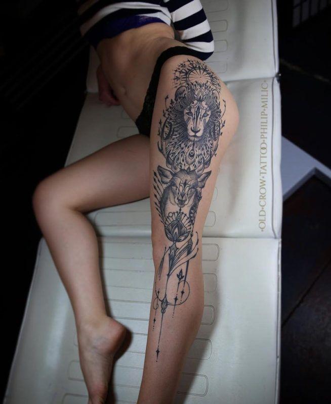 Photo of Lion & Deer Leg Tattoo