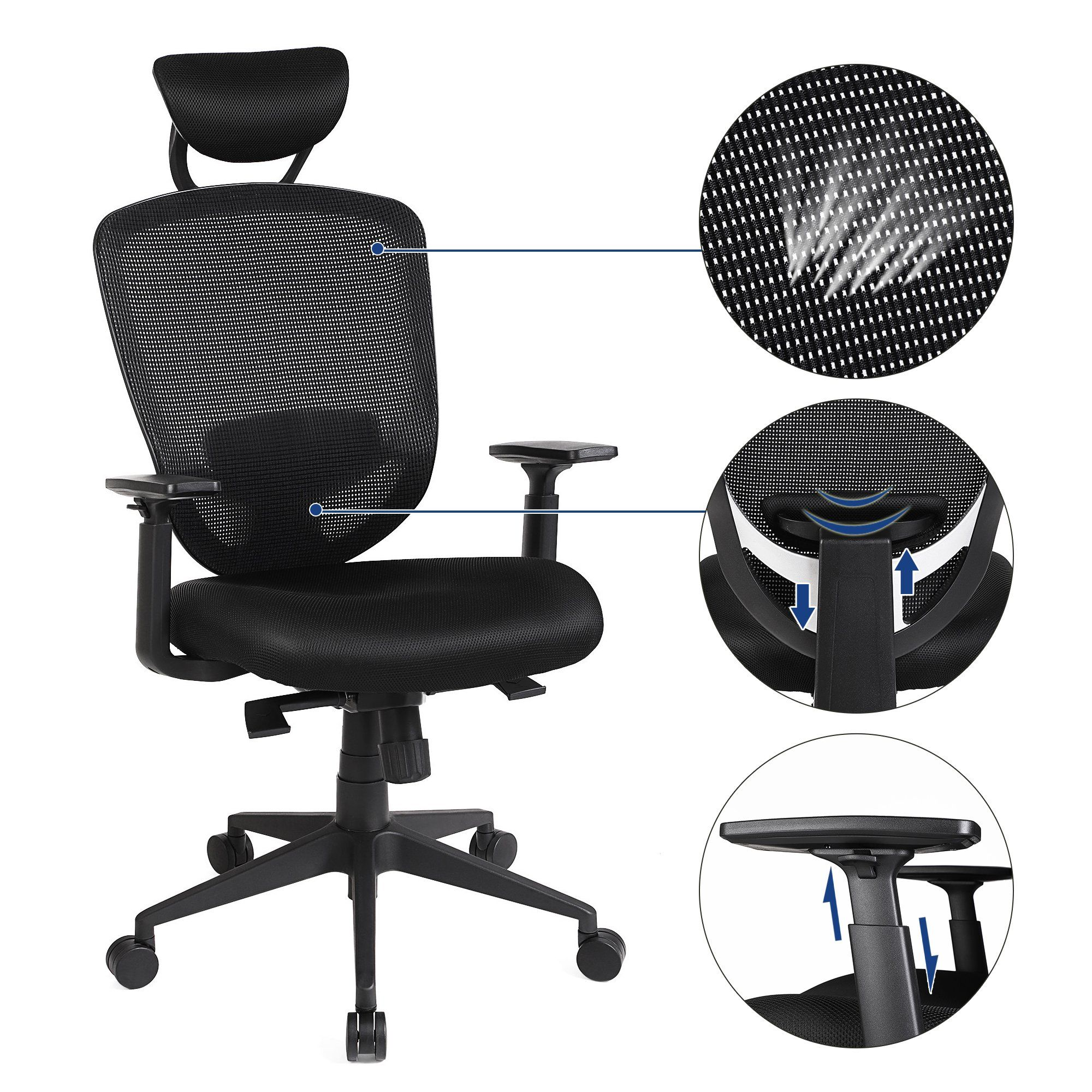 Songmics Office Chair With Ergonomic High Back Support Swivel Mesh Chair With Adjustable Headrest Black Uobn88bk Office Chair Mesh Chair Office Chair Makeover