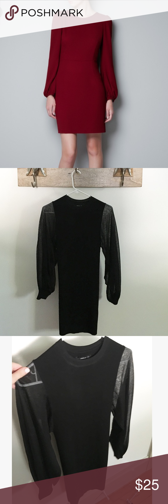 Nwt black zara poof long sleeve dress nwt